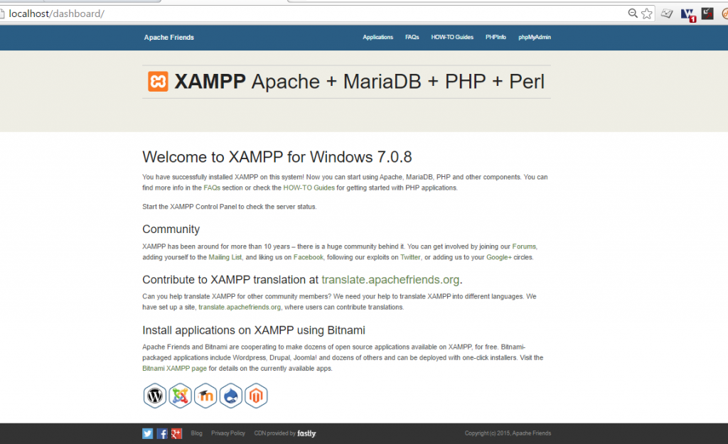 welcome-to-xampp-for-windows
